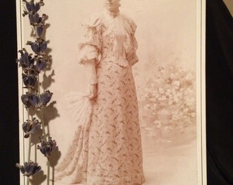 Antique Cabinet Photo - Woman of Detroit, Michigan - Mary Elizabeth Ulley  - Beautiful  Elegant Dress with Fan