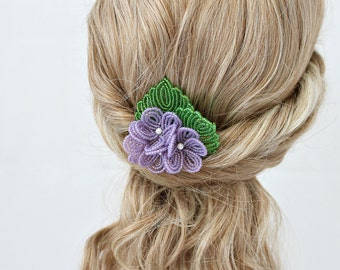 French Beaded Flower Hair Clip and Brooch, seed beaded floral jewelry, purple accessories, gift for women, Handmade with Vintage seed beads
