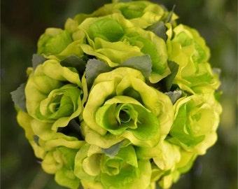 Set of 4 Lime Green Kissing Balls, Kissing Ball, Flower Girl Pomander, Pomander Balls, Rose Pomander Balls, Hanging Kissing Balls, Wedding