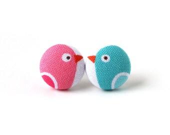Bird stud earrings - tiny kids fabric earrings - cute button earrings - blue pink white