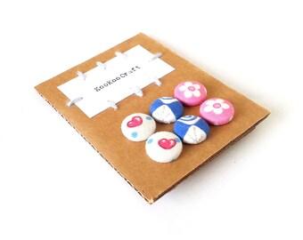 SALE Set of 3 - button earrings - fabric covered stud earrings - pink blue white heart flower stud earrings