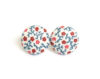 Retro stud earrings - white button earrings - fabric earrings blue red floral - fall present for her