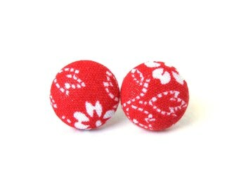Red button earrings - red stud earrings - red fabric earrings - floral flowers white