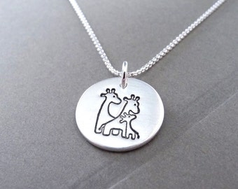 Small Giraffe Family Necklace, Mom, Dad, Baby, Two Moms, Two Dads, New Family Jewelry, Fine Silver, Sterling Silver Chain, Made To Order