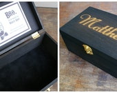 Dark Stained Wood Gift Box Will You Be My Groomsman, Ring Bearer, Best Man Personalized - Customizable