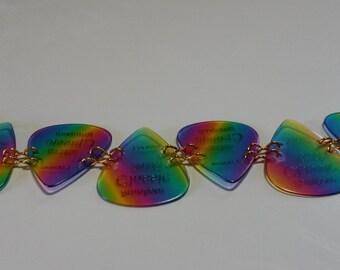 Rainbow guitar pick bracelet, toggle closure