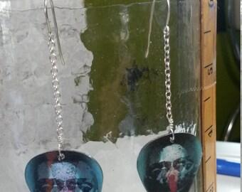 HOLOGRAPHIC Face/Skull dangle guitar pick earrings