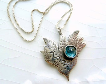 Funky Heart Necklace - London Blue Topaz and Sterling Silver with Keishi Pearl one of a kind, December Birth Stone, Gift