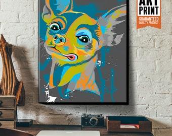 CHIHUAHUA, Dog Art, Canvas Art Print,  Pop Art style, Illustration, Poster Size, Dog Decor, Pet Portrait, Dog Nursery, Gift for Pet Lover