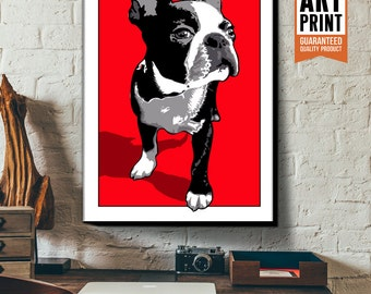Boston Terrier, Dog Art, Pop Art style, Poster size, Canvas Art Print, Dog Decor, Pet Portrait, Gift for Dog Lover, Red Art Print