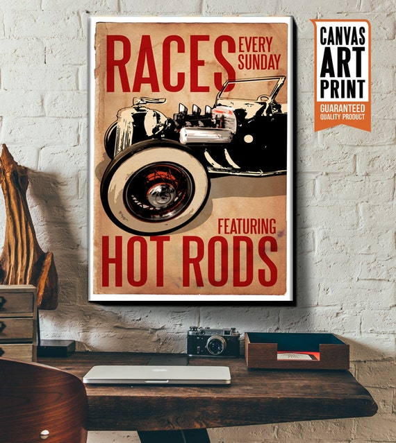 Vintage, Car, Hot Rod races, Canvas Art Print, Poster size, Auto, Man Cave, Garage, Decor, Car Gift, Auto Art, Car Wall Art, Canvas Print