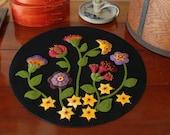 "Wool applique KIT & PATTERN ""Jacobean Flowers"" table topper runner 15"" diameter hand dyed wool felt folk art stencil candle mat penny rug"