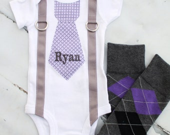 NEW Baby Boy Easter Personalized Tie Bodysuit and NEW Argyle Leg Warmer SET. 1st Birthday Outfit.  Photo Prop Cake Smash Outfit, Valentines