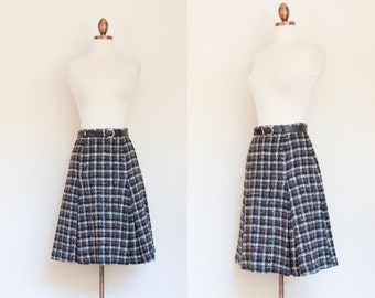 vintage 1960s wool plaid A line skirt / 60s Junior Teen Sid Harris gray and red checked skirt / S