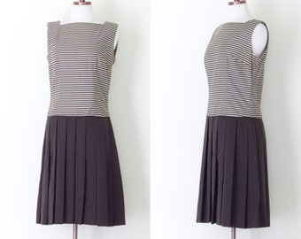 1960s Howard Wolf brown striped drop waist dress / vintage 60s mod pleated sleeveless day dress | M