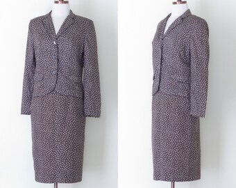 1960s Personal brown floral suit / vintage 60s flower printed skirt and jacket set | S