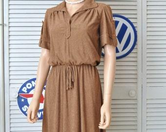 Vintage 70s Womens Terry Dress/Hazelnut Brown/Autumn color/Medium short sleeve elastic waist/Theater Costume/Faux button sleeve/v-neck