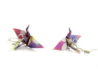 "Tiny Origami Crane Earrings Pretty Pastels 3/4"""