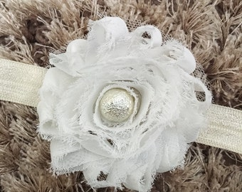 White Chiffon Headband, Shabby Chic Newborn Headband, Vintage Style Flower Baby Headband, Glass Pearl Bead Newborn Photo Prop Costume Gift