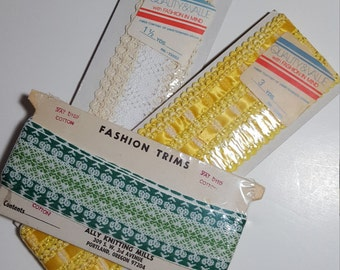 Vintage sewing trims, Lot #2, original unopened packages, cotton, Yellow, green, cream