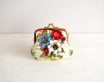 Victorian floral bouquet tiny coin purse - shabby chic, elegant. Handmade in Japan. Ready to ship.