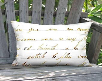Lumbar Pillow Cover - Pillow- Bronze French Script Neutral Decor - 12x16 12x18 12x20 12x22 12x24 14x20 14x22 14x26 16x20 16x24 16x26 Inch