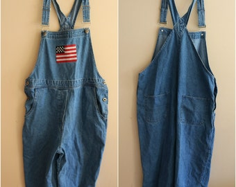 SALE: 90's Vintage American Flag Cropped Overalls Dungarees- Size Medium - American- America - Country