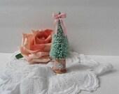 Pink Christmas Bottle Brush Tree Glittered Spool Lace Bling Diamond Decoration