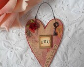 Valentine Wooden Heart Ornament Red Rose Key I Love You