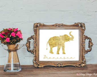 Elephant Art Print - Glitter Animal Series - Nursery or Home Wall Art - 5x7 or Larger