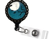 Halloween Bats Moon and Tree on Blue Background Black Retractable ID Tag Badge Reel