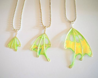 """Green Fairy Wing Necklace, Forest Faerie, Choose your size wing, """"Fern Faery"""""""