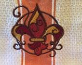 Fleur de Lis Machine Embroidered Tea Towel