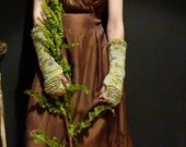 Botanica Warmers, hand knitted leaf green, brown and cream kettle-dyed pure merino wool fingerless gloves, arm warmers