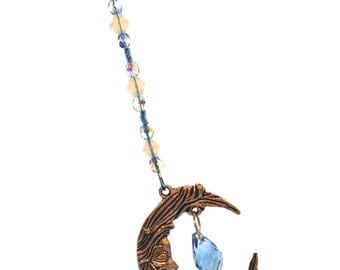 Moon & Crystal Ornament Light Blue Hanging Beaded Crystal Feng Shui Sparkles Crescent Moon