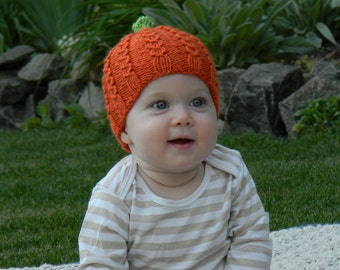 Pumpkin Patch Beanie - PDF knitting pattern - sizes for the entire family - worsted yarn - written instructions