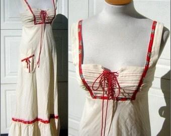 Corset Maxi Dress Festival Hippie Vintage 70s S to XS Excellent Condition CLEARANCE