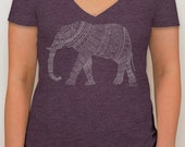 Adoption Fundraiser t-shirt -  vintage purple v-neck tee with hand-drawn elephant design