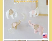 Baby Crib Mobile, Baby Girl Mobile, Elephant Mobile, Petal Pink Beige Elephants in a White starry night, Match Bedding Mobile