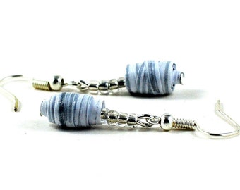 Handmade Paper Bead Earrings White and Silver Striped Pastel Tones Recycled Jewellery Pantone Serenity