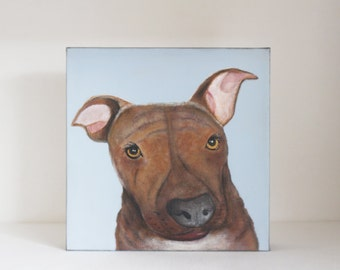 dog painting, dog lover gift idea- custom pet portrait- painting - 8x8 custom painting of your dog- redtilestudio- gift idea pitfall