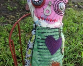 Valentine Zombie Monster Art Doll, OOAK Original Design, Textile Mixed Media Art Doll, Hand Printed Fabric, Creepy Cute Wild, stitch, blood