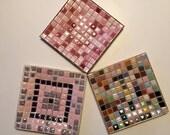 VIntage Midcentury Mosaic Tile Dishes, Set of 3
