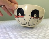 Penguins Cereal Bowl Handmade Ceramic Bowl Soup Bowl Penguins in Scarves with Moon Illustration Cute Handmade Pottery Gift Present