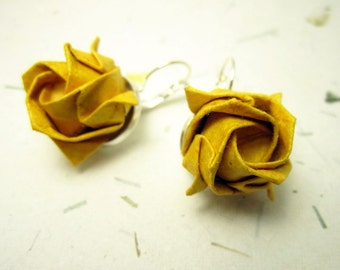 Gold Yellow Origami Rose Earrings, Origami Jewelry, Asian Jewelry, Japanese Earrings, Paper Rose Earrings, Lolita Jewelry, Geisha Earrings