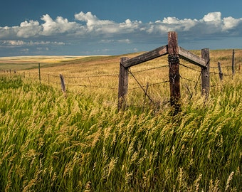 Wooden Fence Corner on the Prairie near the Badlands in South Dakota No.0461 - A Fine Art Western Landscape Photograph