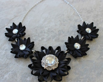 Black Statement Necklace, Black Flower Necklace, Black Necklaces, Prom Jewelry, Wedding Jewelry, Black Bridesmaid Jewelry, Black Flowers