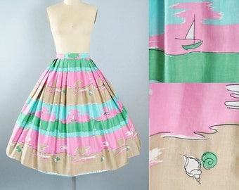 "Vintage 50s Novelty Print Full Skirt / 1950s Pink Green Blue Cotton BEACH Sea SHELLS BOAT Scenic Summer Pinup High Waist 26"" Small S"