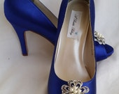 Wedding Shoes Bridal Shoes Blue Bridal Shoes with Vintage Inspired Pearl and Crystal Flower Brooch -  Dyeable Shoes Pick your Color