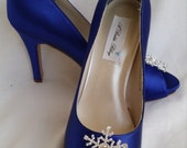Wedding Shoes Blue Bridal Shoes with a Crystal Snowflake Brooch -  Dyeable Shoes Over 100 Colors To Pick From